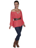 E118-CRL-MEDIUM SIZE  LONG SLEEVE OFF THE SHOULDER BLOUSE WITH RUFFLE TRIM.