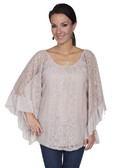 E119-KHA-LARGE SIZE  WIDE ARMED LACE BLOUSE.  SCOOP NECKLINE.