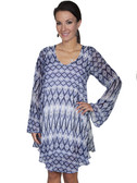 E120-BLU-MEDIUM SIZE  FLOWING PATTERNED LONG SLEEVE DRESS.  SCOOP NECKLINE.
