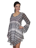 E120-MEDIUMOC-LARGE SIZE  FLOWING PATTERNED LONG SLEEVE DRESS.  SCOOP NECKLINE