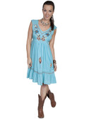 E121-TUR-EXTRA LARGE SIZE  EMBROIDERED SLEEVELESS V-NECK DRESS.