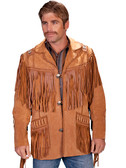 Mens Bourbon Color Hand Laced Bead Trimmed Coat - Prairie Leather Suede Jacket