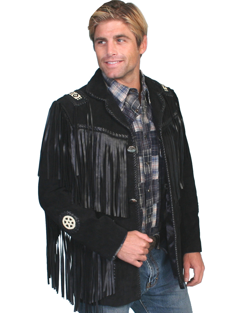 2974363ee BLACK BOAR SUEDE Hand Laced Bead Fringed Jacket Trimmed Coat - Prairie  Leather Suede JACKET MENS JACKETS Native American Style Designed