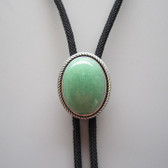 Natural Green Jade Oval Bolo Tie, Vintage Silver Plated