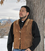Brown Geronimo Suede Fringed Leather Vest with Bone Accents