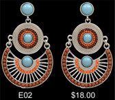 Silver Strike Turquoise, Brown, and Orange Earrings--Gorgeous!