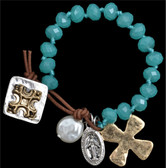 Cross Turquoise Bead Bracelet with Silver and Gold Tone Charms