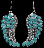 Silver Strike Turquoise Wing Earrings--Hypoallergenic