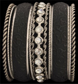 Silver Strike Silver & Black Bangle Bracelet Set