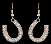 Silver Strike Clear Crystal Horseshoe Earrings--Hypoallergenic