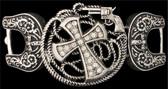Silver Strike Cross & Gun Stretch Bracelet