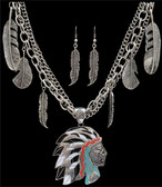 Silver Strike Native American Earring & Necklace Set--Hypoallergenic