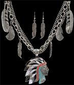 Silver Strike Native American Earring & Necklace Set--Hypoallergenic