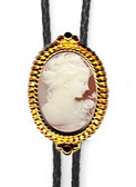 Rose Female Cameo BeadedBolo Tie (Silver or GoldFinish)