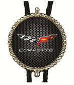 Corvette with Black Carbon Fiber Background Bolo Tie