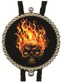 Happy Halloween Scary Fire Skull Bolo Tie