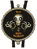 Happy Halloween Scary Skeleton Ghost Bolo Tie