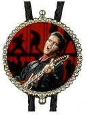 Elvis Presley Bolo Tie Silver Metal, Leather Cord Western Rockabilly