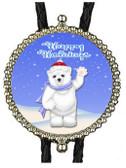 Happy Holidays Polar Bear Bolo Tie