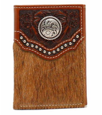 Ariat Western Mens Wallet Trifold Calf Hair Embossed Studs Concho Brown