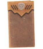Ariat Western Mens Wallet Rodeo Leather Overlay Shield Concho Brown