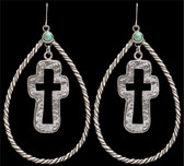 LoulaBelle Silver Rope Teardrop and Cross Earrings