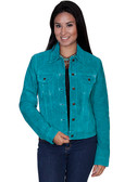 Turquoise Suede Jean Jacket