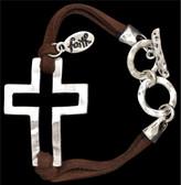 Silver Strike Brown Cord Cross Bracelet