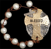 "Silver Strike ""Blessed"" Plate Bracelet"