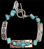 Justin Silver & Copper ID Tag Bracelet