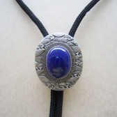 Vintage Silver Plated Oval Nature Lapis lazuli Stone Bolo Tie