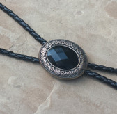 Black Onyx Diamond Style Cut Silver Plated Vintage Celtic Bolo Tie