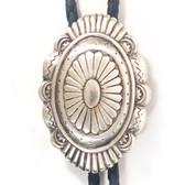 Western Concho Style Silver Oval Bolo