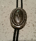 Western Concho Style Oval Pewter Bolo Tie with Diamond Star Center