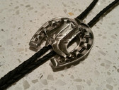 Western Style Silver Horse Shoe with Cowboy Boots Bolo Tie