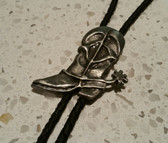 Western Style Silver Cowboy Boot with Spur Bolo Tie