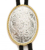 WESTERN STYLE SILVER OVAL ETCHED BOLO TIE