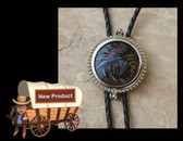 Round Hand Painted Indian Chief Face on real Glass Bolo Tie
