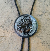 "2"" HAND PAINTED GLASS B\W INDIAN CHIEF BOLO TIE"