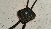 Native American Dark Silver Frame with Small Accented Round Stone Turquoise Bolo Tie