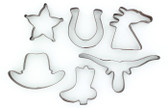 WESTERN COOKIE CUTTERS 6 PIECE COWBOY BROWN