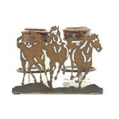 WESTERN MOMENTS SHAKER SALT PEPPER HORSE CADDY BROWN