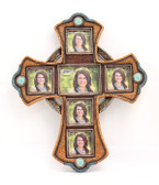 WESTERN FRAME PHOTO CROSS 6 PICS OLD BROWN