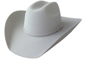 5X SILVER WOOL FELT Cowboy Hat WITH SILVER BUCKLE, INCRUSTATED STONE & SHEEPSKIN SWEAT BAND