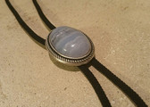 Vintage Silver Plated Frame with Natural Blue Ripple Agate Stone Bolo Tie