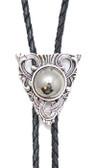 Bolo Tie Silver Triangle  with Round Mirrored Stone
