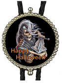 Scary Skeleton with Sword Happy Halloween Bolo Tie