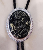 Cabochon Black Resin with Raised White Skeleton Bolo Tie