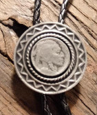"1.5"" Aged Looking Indian Nickel Designed Pewter Bolo Tie"