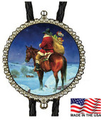 Cowboy Hat Santa Riding Horse In the Snow Bolo Tie